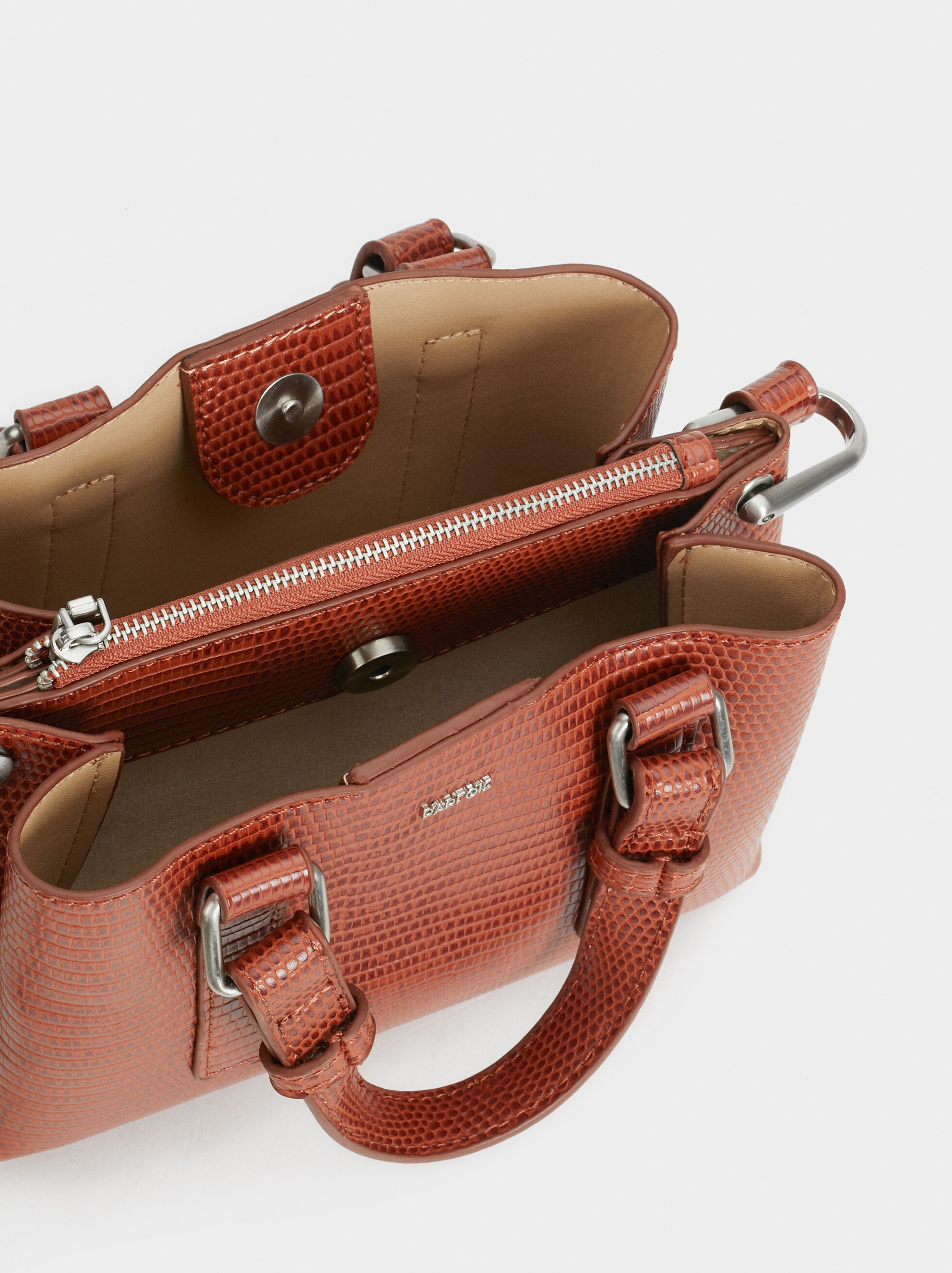 Plain Briefcase With Crossbody Strap, Brick Red, hi-res