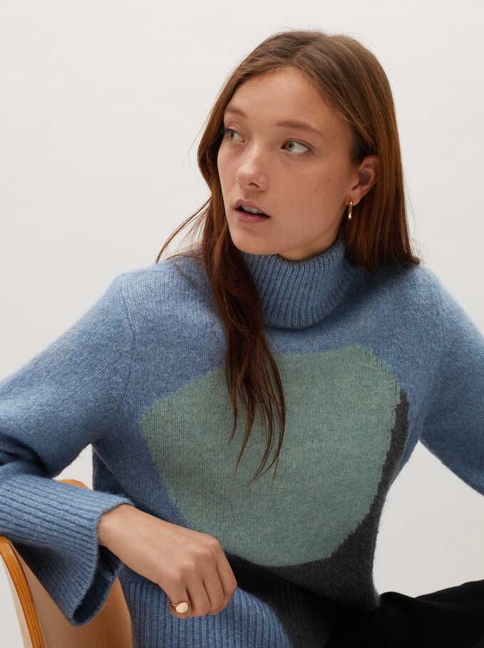 Jersey De Punto Cuello Alto Estampado, Azul, hi-res