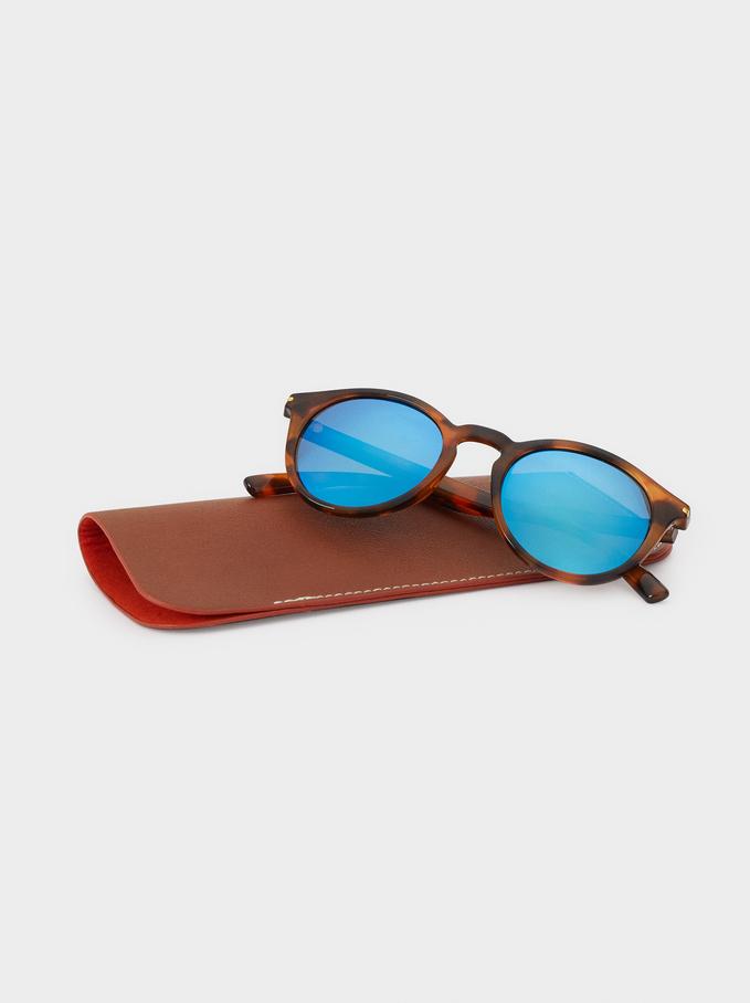 Round Sunglasses, Brown, hi-res