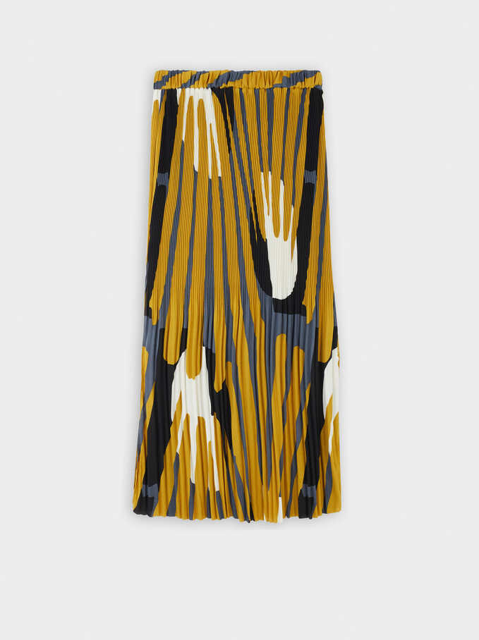 Pleated Printed Skirt With Elasticated Waist, Yellow, hi-res
