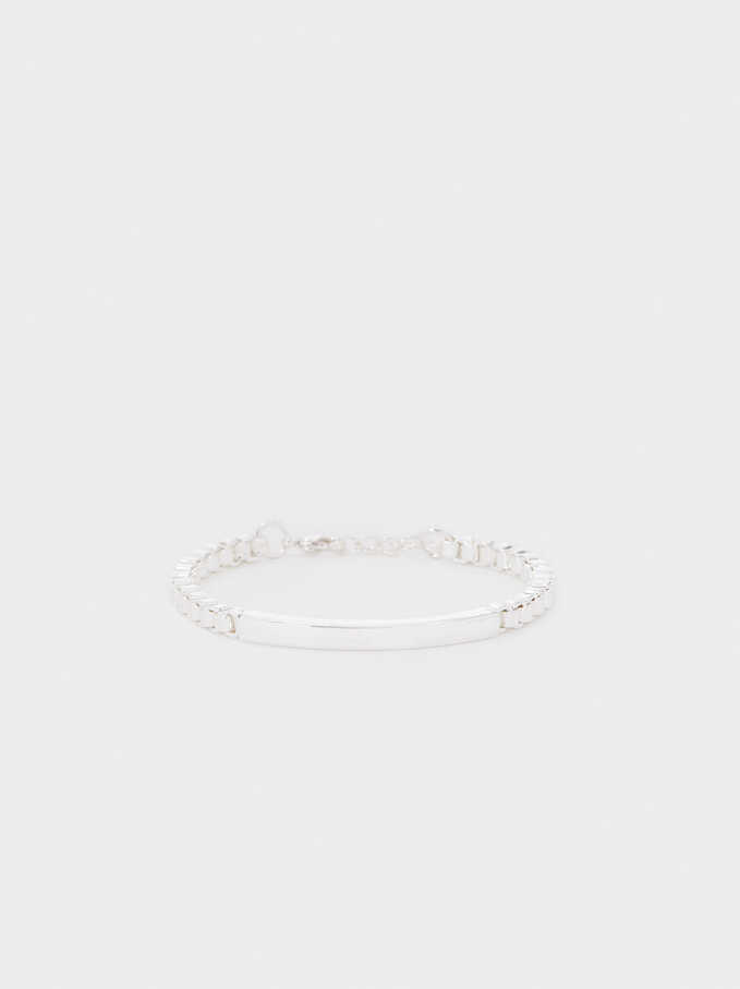 Silver-Plated Metallic Bracelet, Silver, hi-res