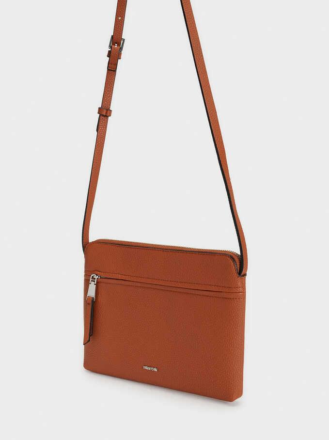 Shoulder Bag With Outer Pocket, Camel, hi-res