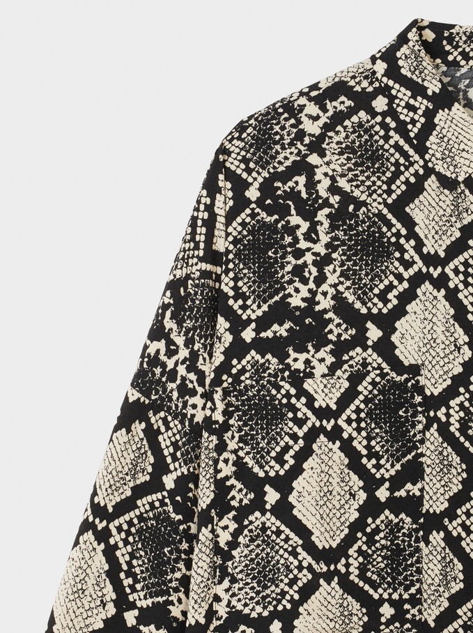 Flowing Shirt With Snake Print, Ecru, hi-res