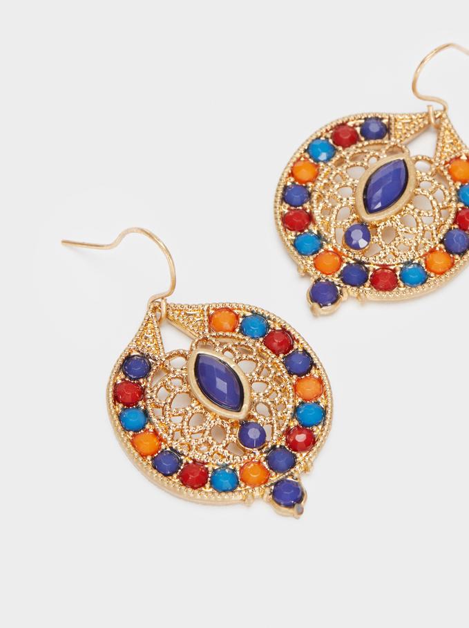 Silver Earrings, Blue, hi-res