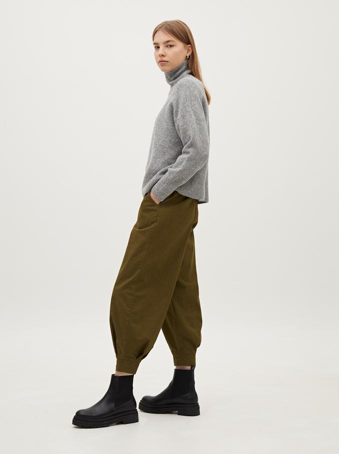High Waist Baggy Trousers, Khaki, hi-res