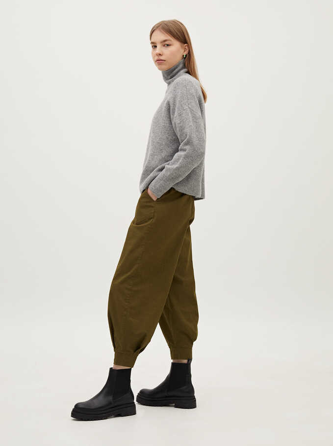 High Waist Baggy Trousers, Khaki, hi-res