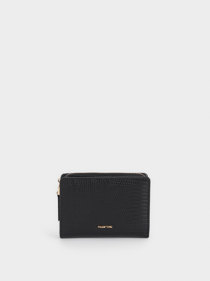 Embossed Animal Print Wallet, Black, hi-res