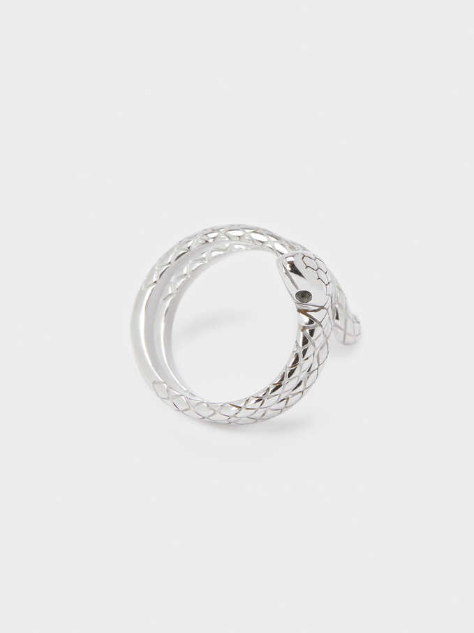 Silver-Plated Stainless Steel Snake Ring, Silver, hi-res