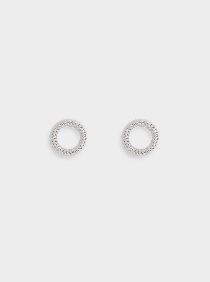 Kurze Goldene Ohrringe, Silber, hi-res
