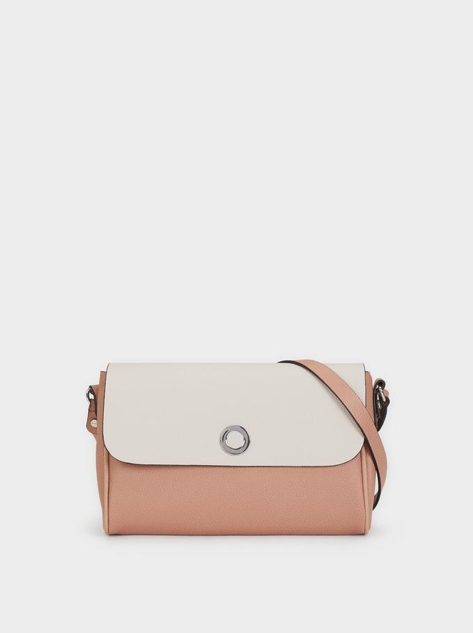 Embossed Crossbody Bag, Pink, hi-res