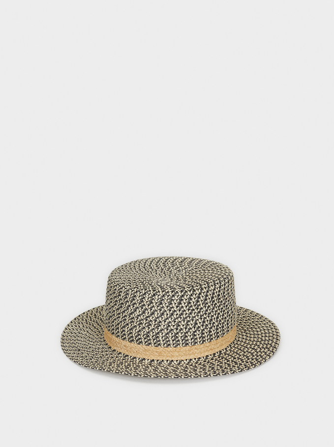 Hat With Contrast Band, Black, hi-res