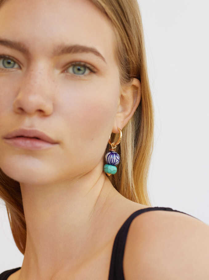 Hoop Earrings With Stones, Blue, hi-res