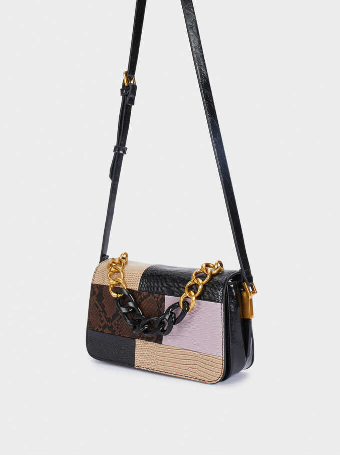 Patchwork Crossbody Bag With Chain Detail, Black, hi-res