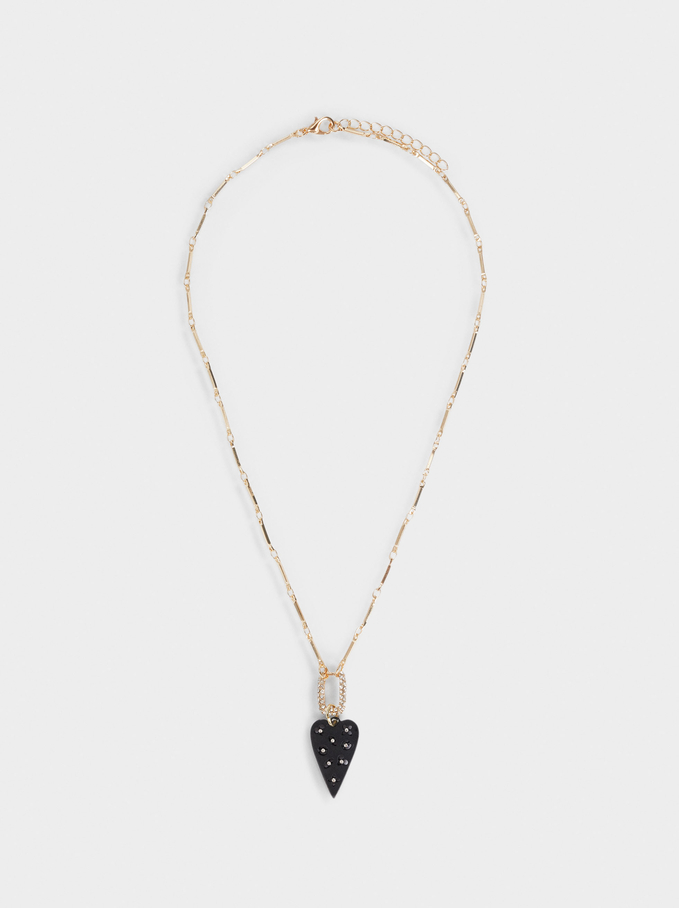 Short Necklace With Heart, Black, hi-res