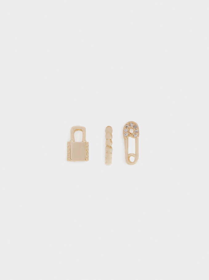 Set Of Small Padlock Hoops, Golden, hi-res