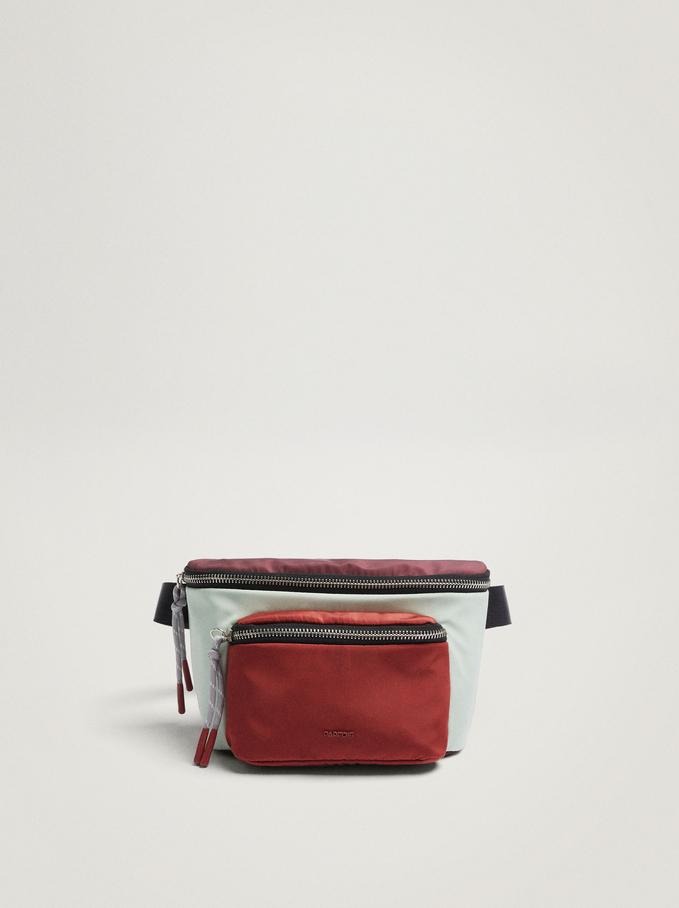 Nylon Belt Bag With Strings, Bordeaux, hi-res
