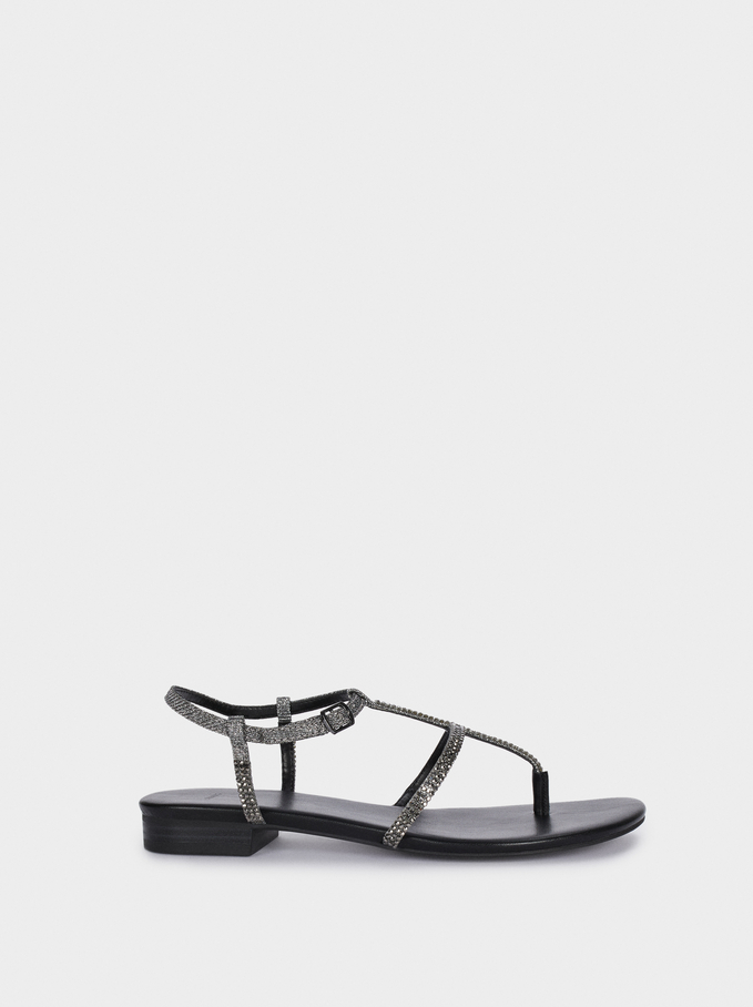 Flat Sandals With Shiny Straps, Black, hi-res