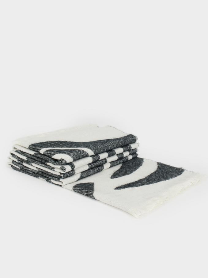 Printed Maxi Scarf, Black, hi-res