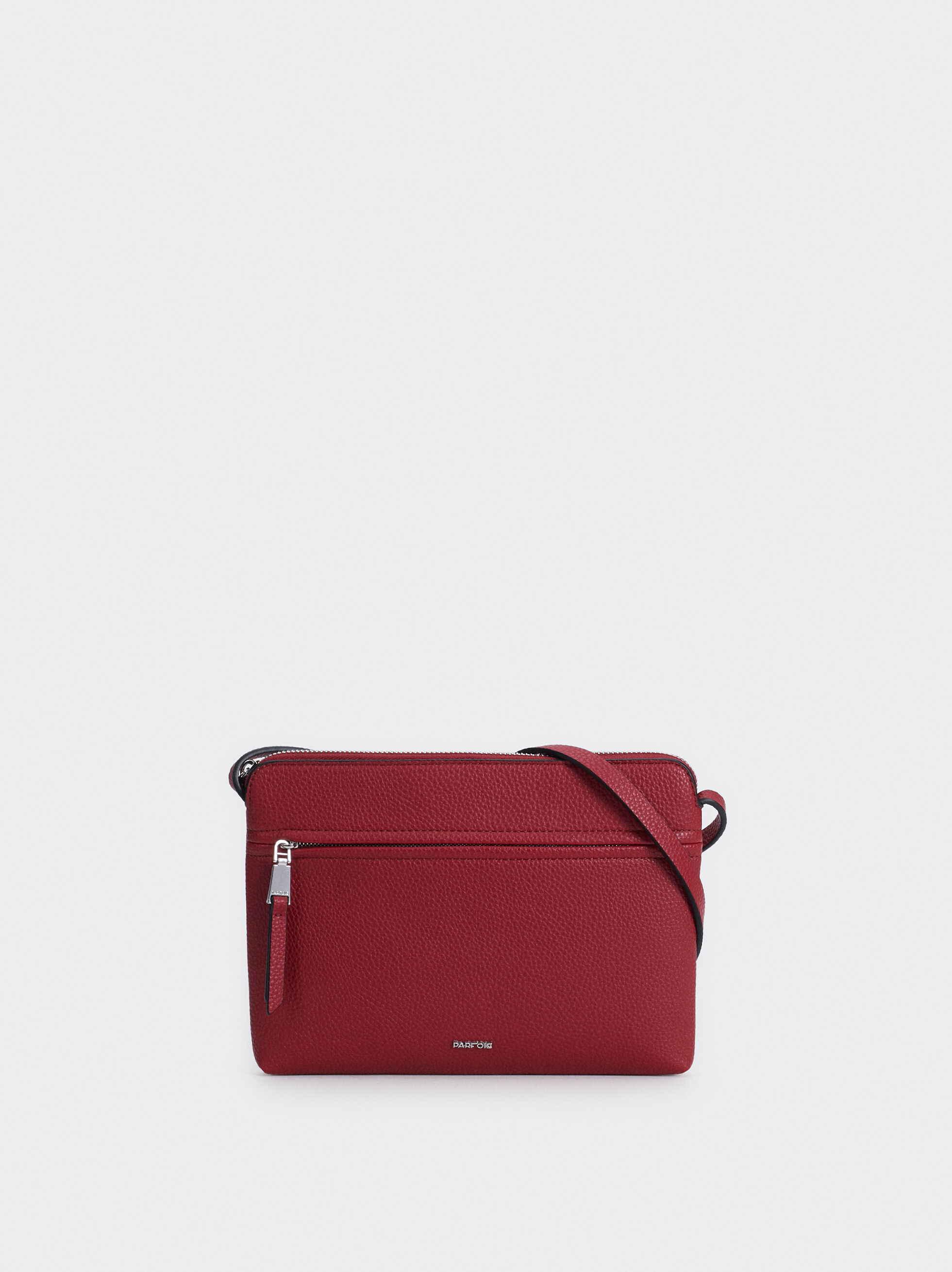 Plain Crossbody Bag With Outer Pocket, Red, hi-res