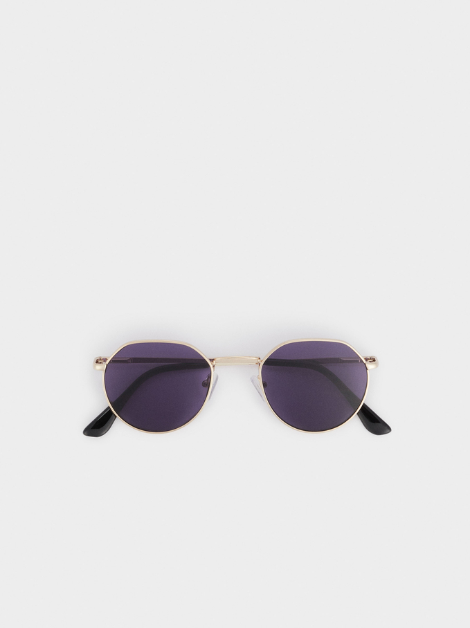 Óculos De Sol Metálicos Redondos , Dourado, hi-res