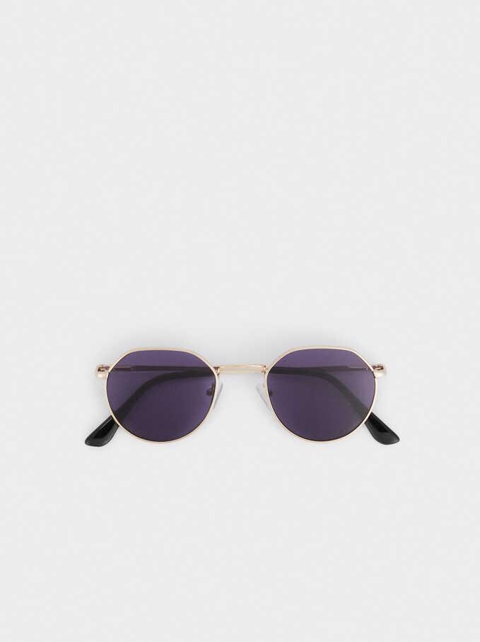 Round Metallic Sunglasses , Golden, hi-res