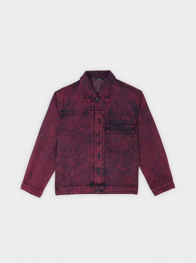 Short Denim Jacket, Bordeaux, hi-res
