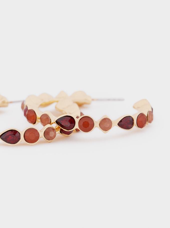 Medium Hoop Earrings With Crystals, Multicolor, hi-res