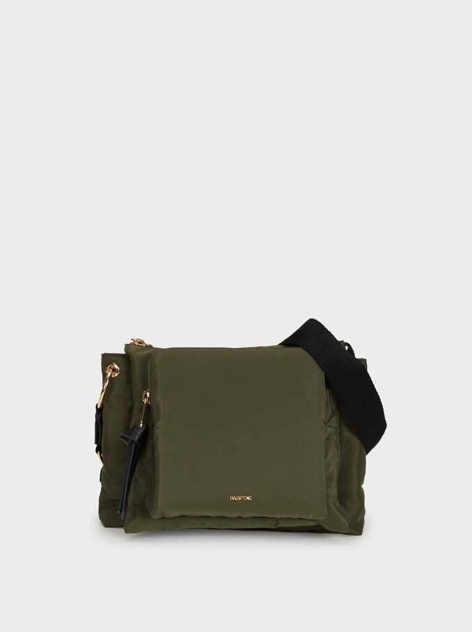 Nylon Shoulder Bag, Khaki, hi-res