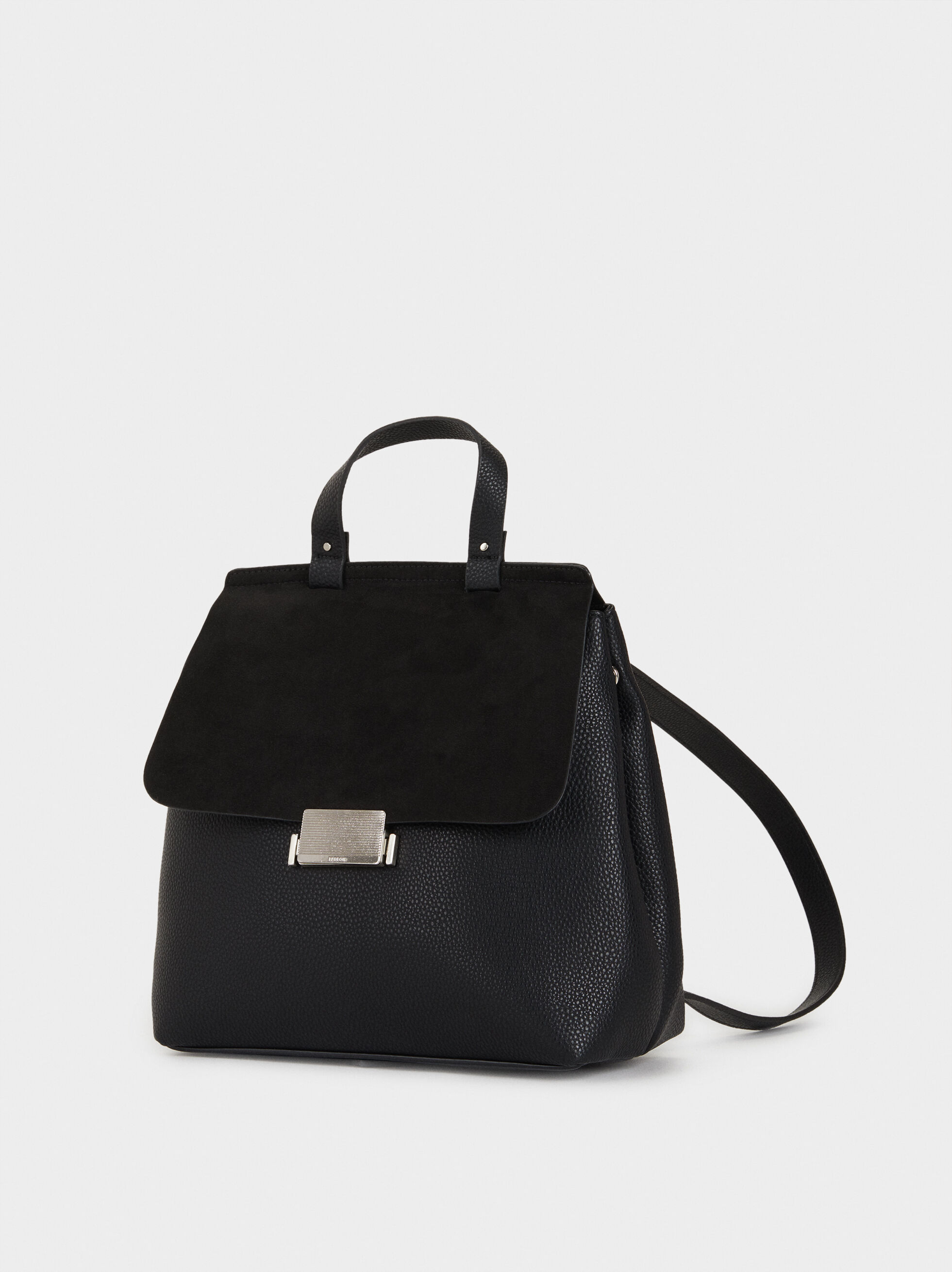 Backpack With Faux Suede Flap, Black, hi-res