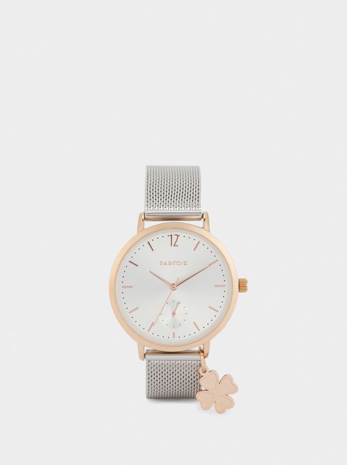 Watch With Metallic Mesh Strap And Clover, Silver, hi-res