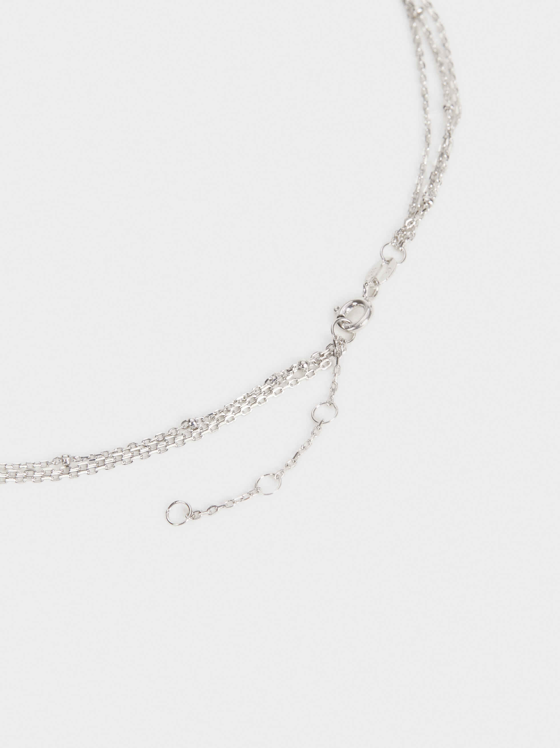 Triple-Strand 925 Silver Necklace With Pendants, Silver, hi-res