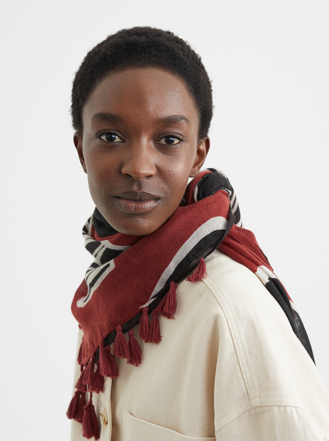 Printed Scarf, Brick Red, hi-res