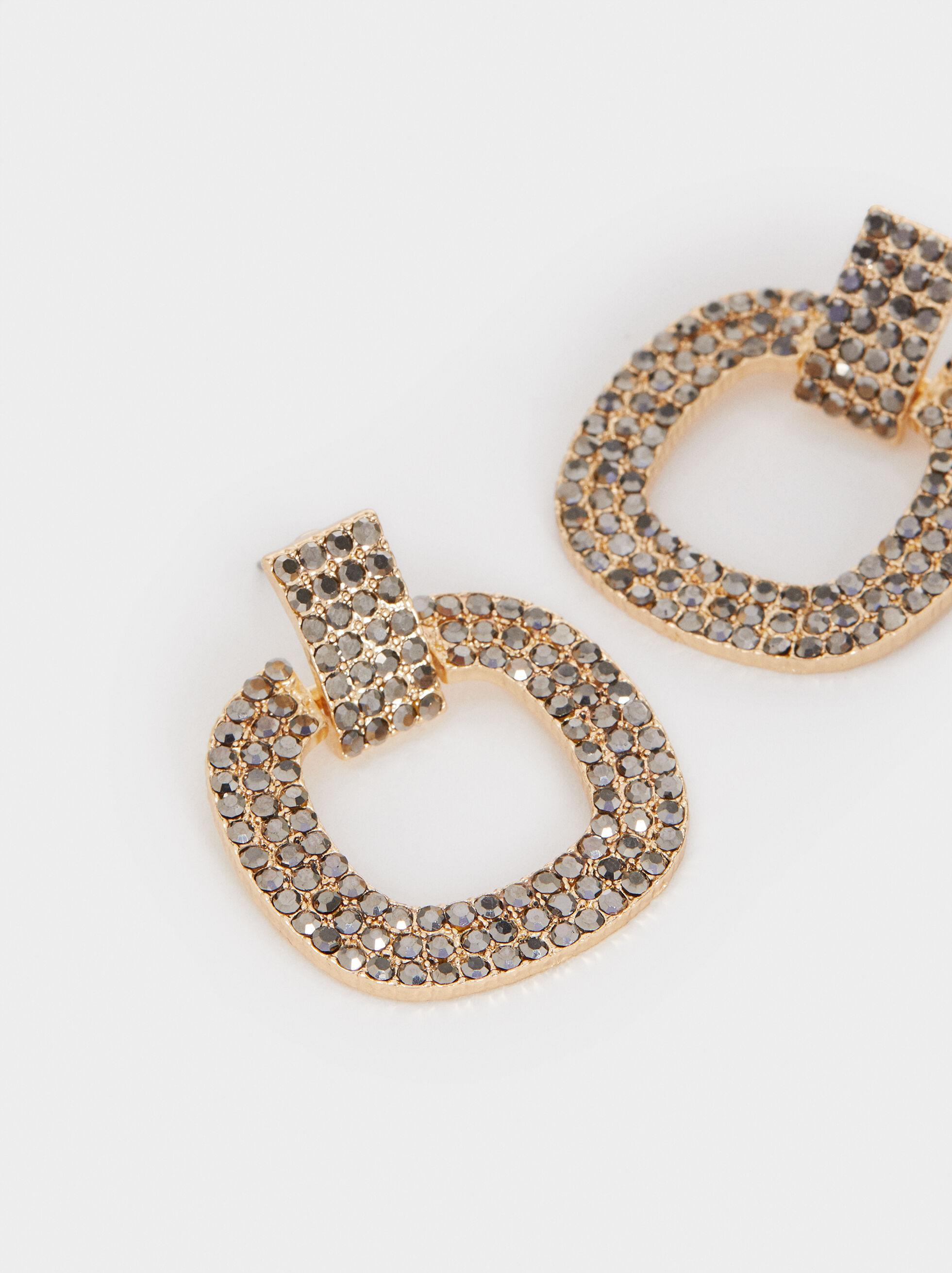 Medium Earrings With Crystals , Grey, hi-res
