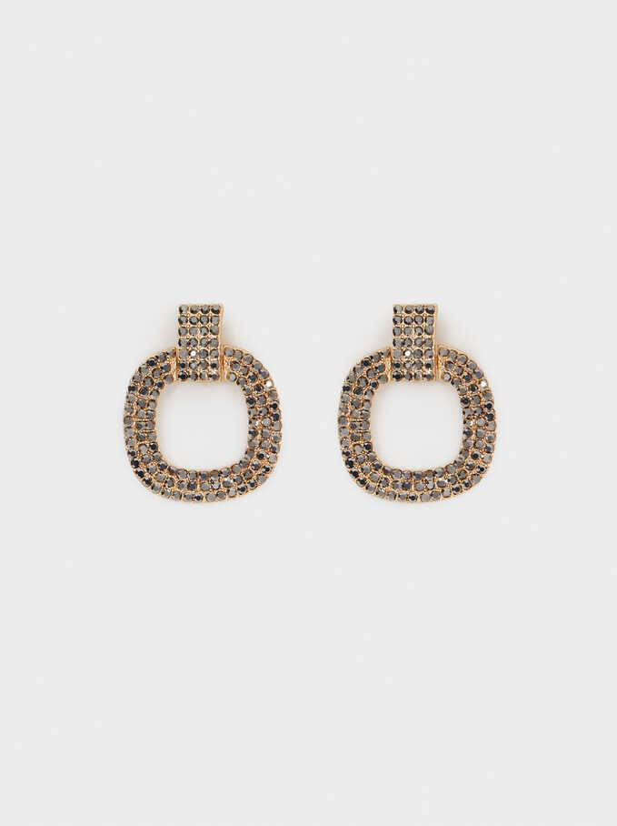 Earrings With Crystals, Grey, hi-res