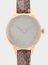 Watch With Animal Embossed Strap, Pink, hi-res