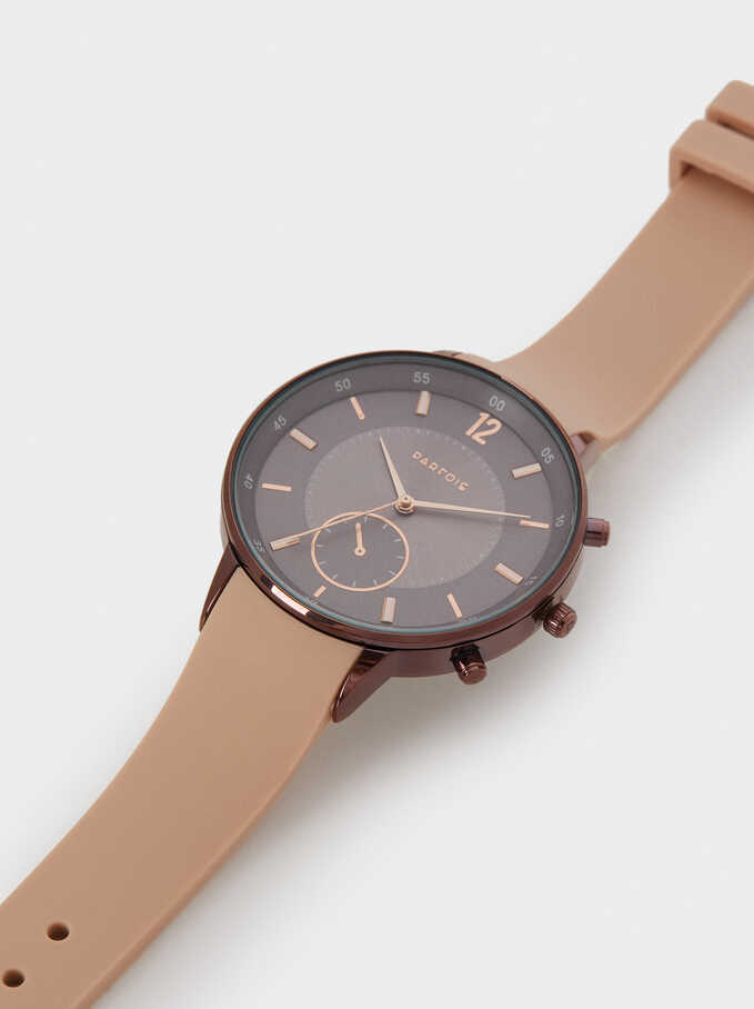 Reloj Correa De Silicona Caja Redonda, Rosa, hi-res