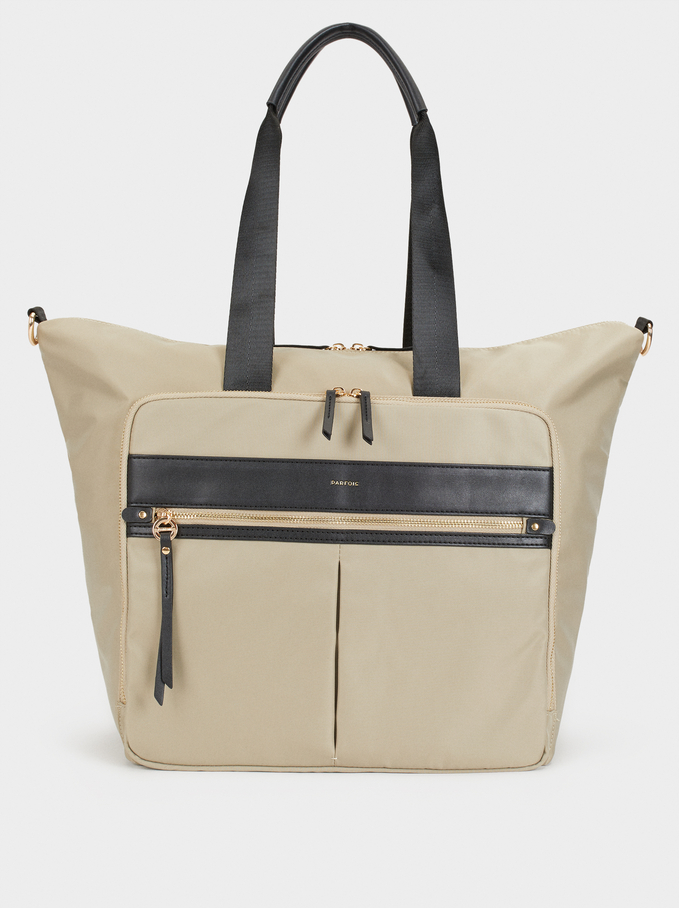 Nylon Weekend Bag, Beige, hi-res