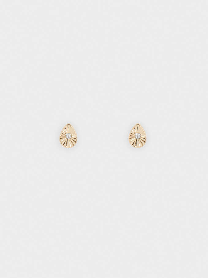 Short Earrings With Crystal, Golden, hi-res