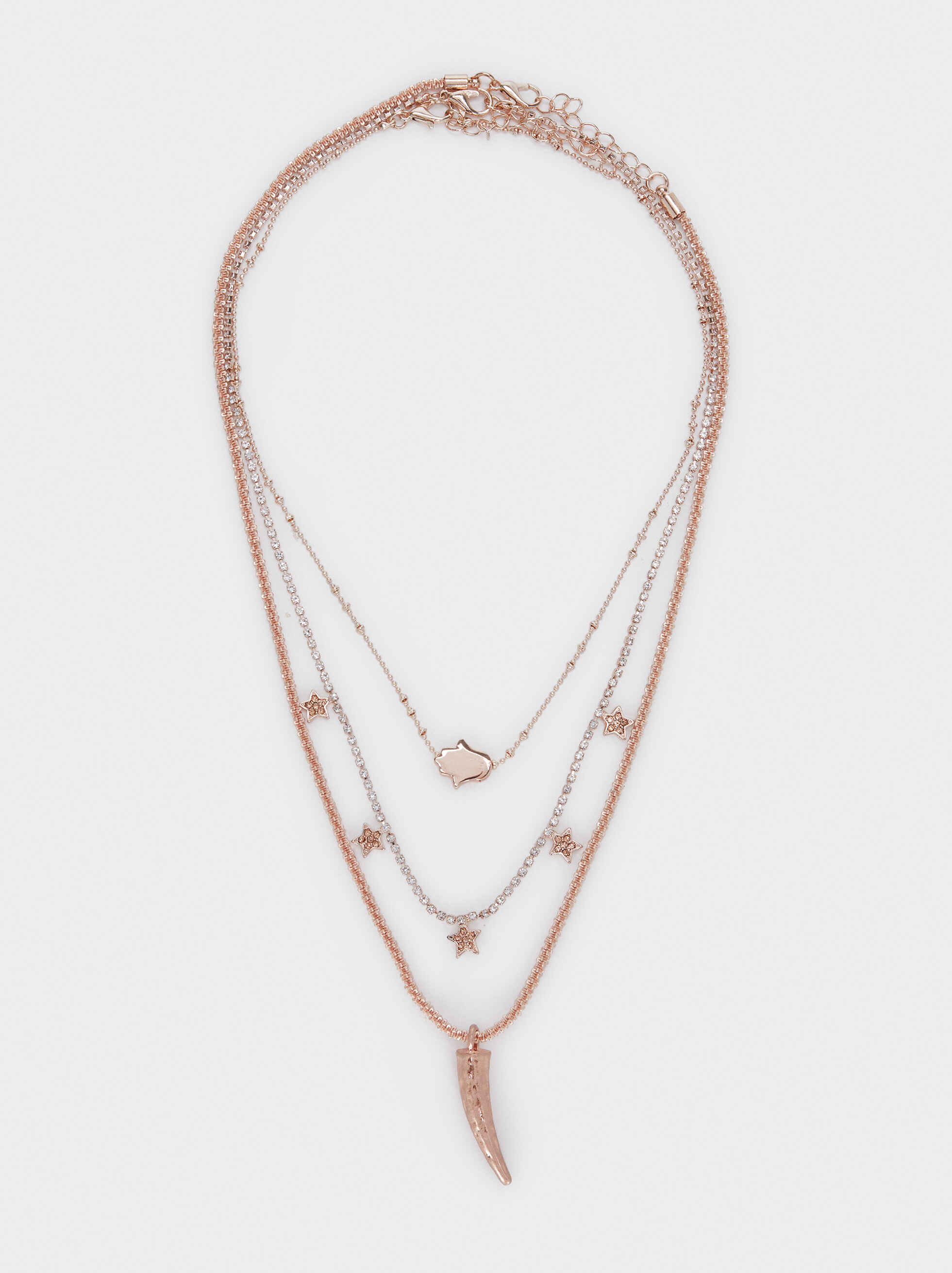 Set Of Necklaces With Star And Horn Details, Orange, hi-res