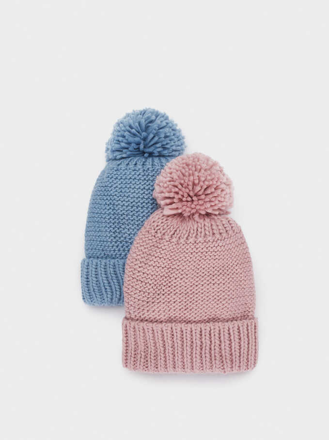 Pompom Beanie Knitted Hat, Blue, hi-res
