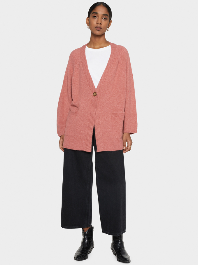 Knit Cardigan With Pockets, Pink, hi-res