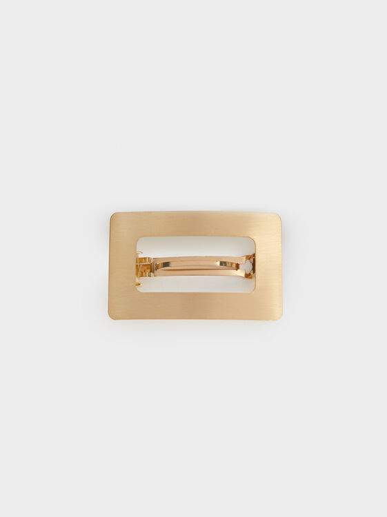 Rectangle French Hair Clip, Golden, hi-res