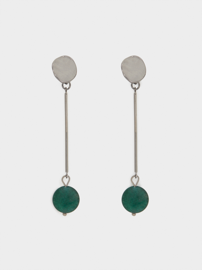 Long Earrings With Multicoloured Gemstones, Green, hi-res