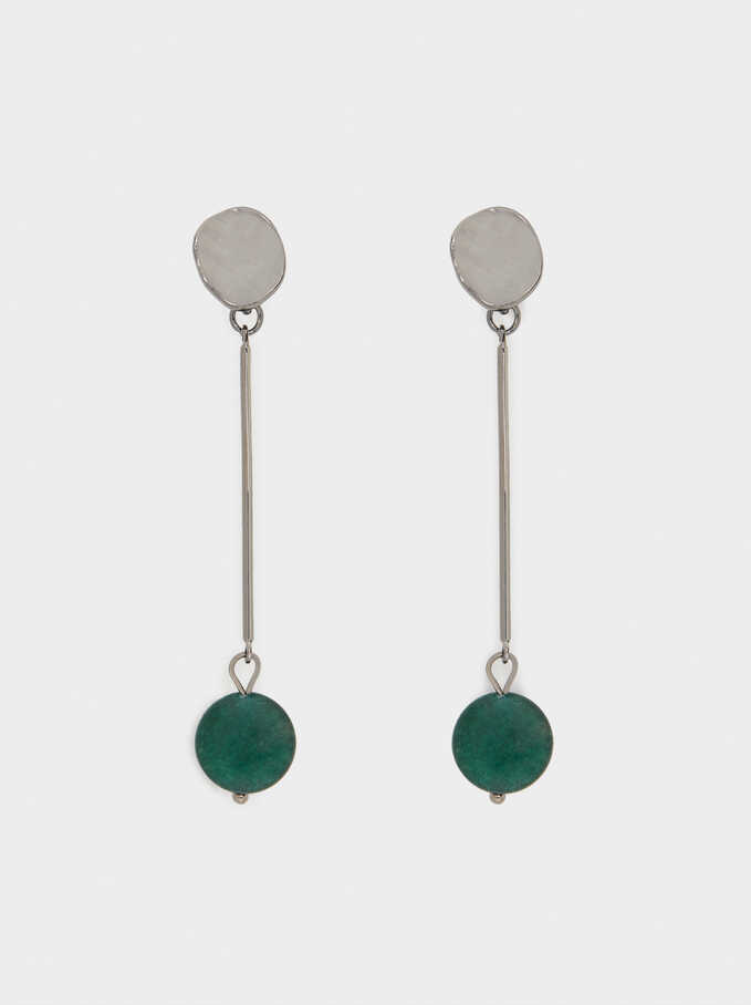 Long Earrings With Stone, Green, hi-res