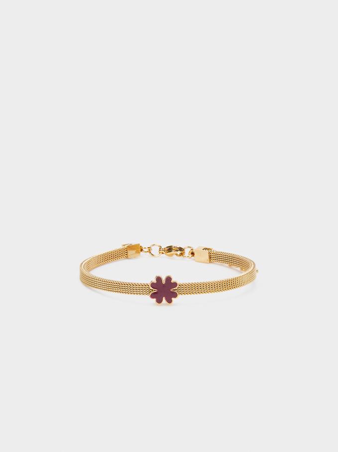 Bracelet En Acier Avec Trèfle, Rose, hi-res