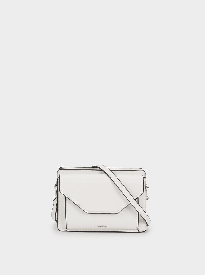 Shoulder Belt Bag With Flap, White, hi-res