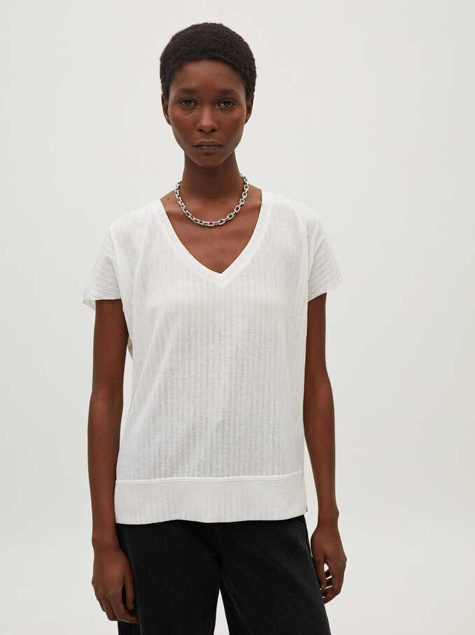Camiseta Cuello Pico, Crudo, hi-res