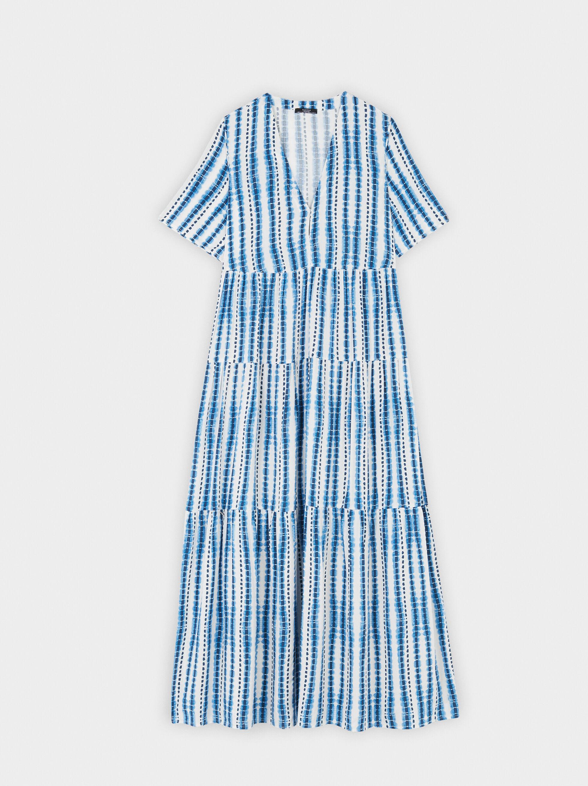 V-Neck Dress With Full Skirt, Blue, hi-res