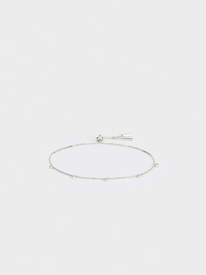 Adjustable 925 Silver Bracelet With Zirconia, Silver, hi-res