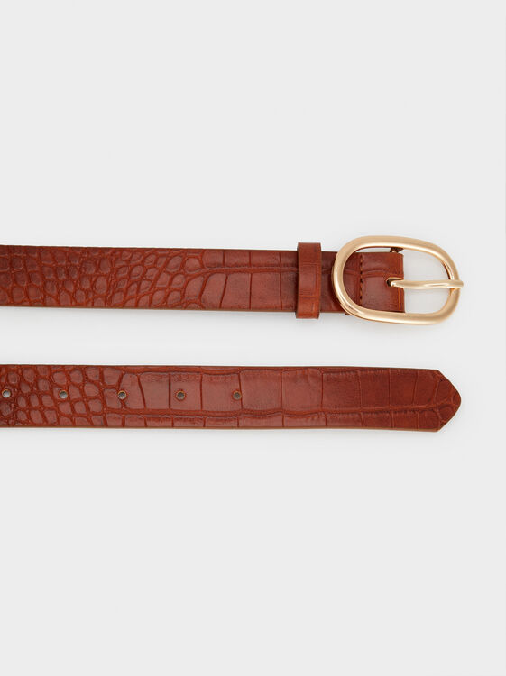 Belt With Oval Buckle, Brown, hi-res